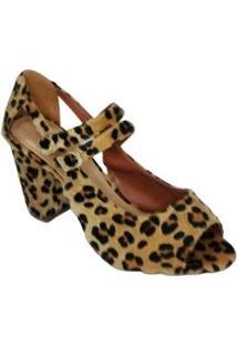 Sapato Nk Calcados Animal Print Feminino - Feminino-Dourado