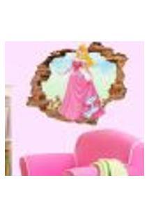 Adesivo De Parede Buraco Falso 3D Princesa Aurora 06 - G 82X100Cm