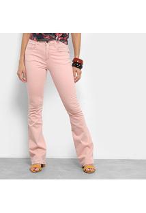 b071c3638 ... Calça Sarja Flare Cantão Color Cintura Alta Feminina - Feminino-Rosa