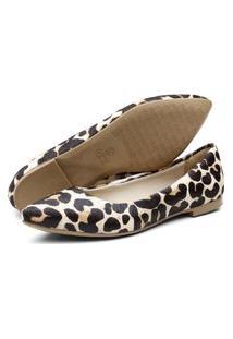 Sapatilha Feminina Q & A Bico Fino Confort Couro Pelo Leopardo