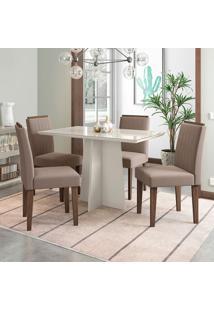 Conjunto De Mesa De Jantar Com Tampo De Vidro E 4 Cadeiras Ana I Veludo Off White E Bege