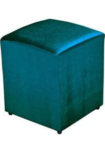 Puff Quadrado Decorativo Tecido Turquesa Brilho - Lyam Decor