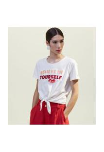Blusa Manga Curta Estampa Believe In Your Self Com Miçangas | A-Collection | Branco | G