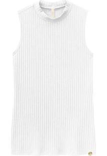 Blusa Regata Canelada Com Gola Redonda Branco