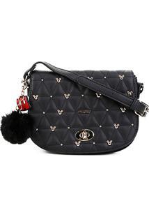 Bolsa Gash Mini Bag Mickey Matelassê Chaveiro Pompom Feminina - Feminino-Preto