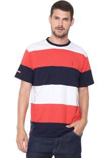 Camiseta Aleatory Listrada Branca/Azul-Marinho