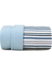 Edredom King Altenburg Malha In Cotton 100% Algodão Fresh Lines - Azul Azul