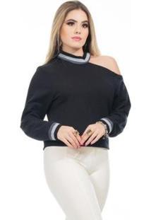 Casaco Clara Arruda Moleton Detalhe Ombro Feminino - Feminino-Preto