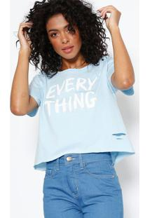 Camiseta ''Every Thing'' - Azul Claro & Branca - Somsommer