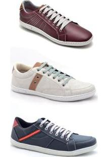 Kit 3 Pares Sapatênis Casual Dexshoes Masculino - Masculino-Vinho+Bege