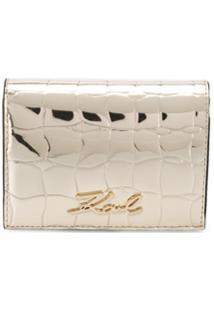 Karl Lagerfeld Carteira K/Signature Mini Com Efeito Pele De Crocodilo - Dourado