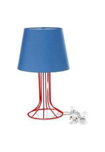 Abajur Torre Dome Azul Com Aramado Vermelho
