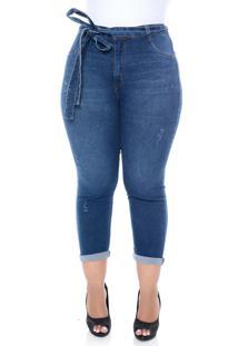 Calça Cambos Jeans Boyfriend Plus Size Cropped Com Cinto Azul