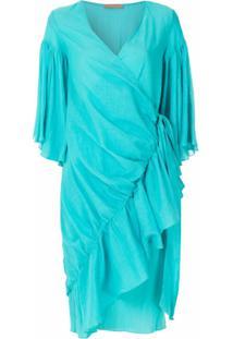 Clube Bossa Vestido Zermie Com Amarração - Azul