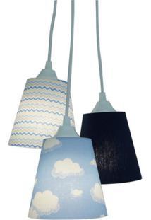 Lustre Crie Casa Pendente Infantil Nuvens E Chevron Tons De Azul E Branco