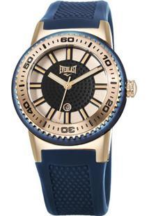 Relógio Analógico E456- Rosê Gold & Azul Marinho- Eveverlast Relógios