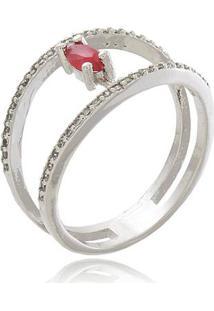 Anel Duplo Meia Aliança Com Zircônias Cristal E Pedra Rosa Banhado Em Ródio Ródio Branco 13