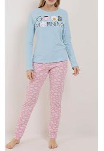 Pijama Longo Feminino Azul/Rosa
