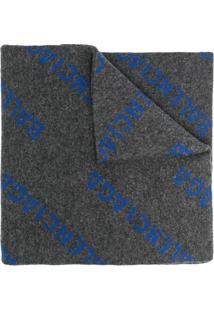 Balenciaga Cachecol De Tricô Com Logo - Cinza
