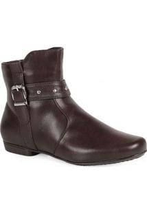 Ankle Boots Feminina Mooncity Fivela Marrom