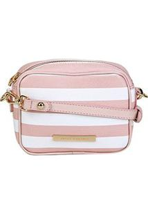 Bolsa Couro Jorge Bischoff Mini Bag Transversal Feminina - Feminino-Branco+Rosa