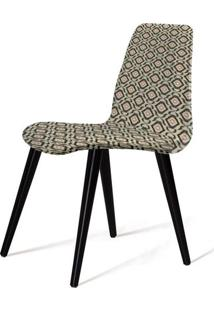 Cadeira Estofada Jacob Estampa Eye Pes Palito Preto - 49513 - Sun House