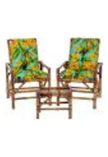 Conjunto Mesa E 2 Cadeiras De Bambu Cancun Para Área Edicula Jardim G32
