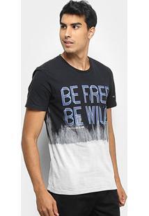 Camiseta Calvin Klein Tie Dye Be Free Be Wild Masculina - Masculino-Preto