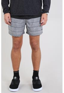 Short Masculino Listrado Com Bolso Preto