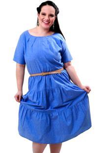 Vestido Teen Delavê Plus Size Vickttoria Vick Plus Size Azul