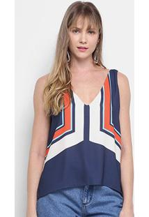 Blusa Morena Rosa Com Decote Cavado Regata Feminina - Feminino-Azul+Laranja
