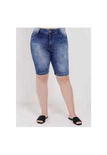 Bermuda Jeans Plus Size Amuage Feminina Azul