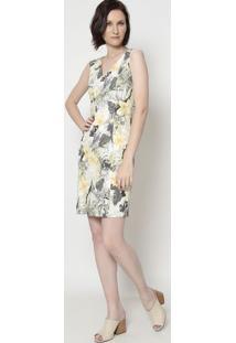 Vestido Floral Com Recortes - Off White & Verde- Moimoisele