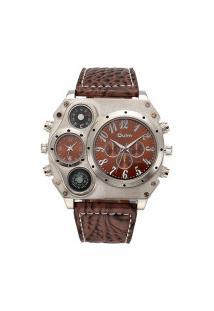 Relógio Masculino Oulm Hp1349 Analógico - Marrom