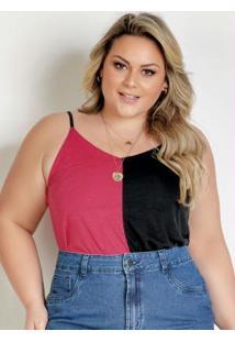 Blusa Preta E Pink Com Alças Finas Plus Size