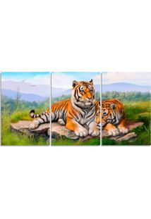 Quadro Decorativo Casal Tigre Natureza Sala Quarto Casa