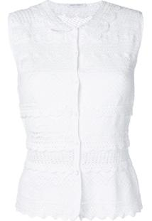Alberta Ferretti Cardigan De Crochê - Branco