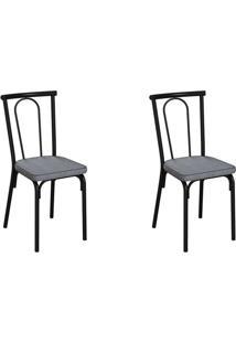 Conjunto Com 2 Cadeiras Albury Cinza E Preto