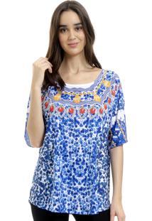 Blusa 101 Resort Wear Camiseta Estampada Malha Fria Azul