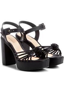 Sandália Shoestock Meia Pata Tirinhas Feminina - Feminino-Preto