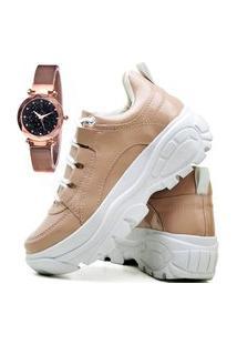 Tênis Sapatênis Plataforma Fashion Com Relógio Gold Feminino Dubuy 730El Nude