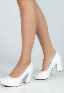 Sapato Feno Salto Grosso Meia Pata Branco Branco