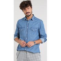 e8fb6f516 Camisa Jeans Masculina Com Bolsos Manga Longa Azul Médio