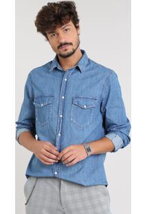 Camisa Jeans Masculina Com Bolsos Manga Longa Azul Médio
