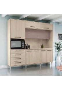 Cozinha Compacta 9 Portas E 4 Gavetas Cb285 – Kappesberg - Amendoa / Moka / Azulejo