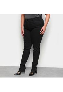 Calça Sarja Skinny Plus Size Ecxo Básica Feminina - Feminino-Preto
