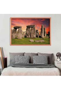 Quadro Love Decor Com Moldura Stonehenge Rose Metalizado Médio