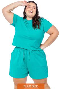 Conjunto Feminino Liso Blusa E Shorts Verde