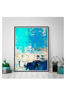 Quadro Com Moldura Chanfrada Arte Abstrata Turquesa E Azul 80X120