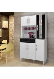 Armário De Cozinha Milão Branco/Preto 06 Portas 01 Com Vidro 01 Gaveta ? Arte Móveis